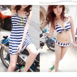 Three-Piece Striped Bikini Set