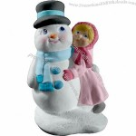 Tiny Girl Hugging Snowman Statue Plaster Craft
