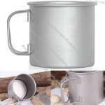 Titanium Water Mug 350ml Handle Foldable Lightweight Outdoors Travel Camping Hiking Cup