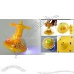 Toy - Mini Yellow Colorful Flashing Plastic Super Spinning Top with Music