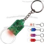 Translucent light bulb shape magnifying glass key light with bright red light.