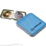 Translucent plastic CD carry case with zipper, holds 24 CD / DVD's.
