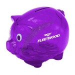 Translucent purple piggy bank with Safety Plug,