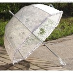 Transparent Dome Sun/Rain Bridal Lace Auto Umbrella With Rose Heart