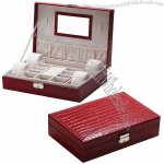 Travel Leather-made Jewelry Storage Box, Holding 4 Watches, with Ring Rolls, Earring Pads