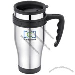 Travel Mug - 16 Oz. 18/8 Stainless Steel W/ Open Finger Grip Handle