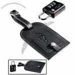 Travel Sentry Lock and Millennium Leather Luggage Tag Set