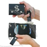 Trifold Chain Wallet with Chrome $