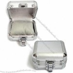 Trinket Box with Silver Diamond Pattern ABS Exterior and Gray Flannel Interior