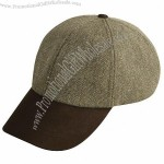 Tweed baseball cap with leather peak