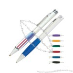 Twist action ballpoint pen with rubber grip and pearl finish.