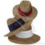 Twisted seagrass eagle shape straw hat with elastic sweatband