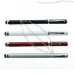 Two in one cap-off action promotional rollerball stylus pen with Chrome trim.