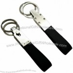 Two Rings Black Leather Keyfobs