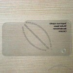 Typical commercial transparent PVC hangtag with screen printing
