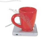 USB coffee warmer with built-in USB extension port and ON/OFF switch.