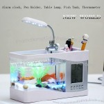 USB Desktop Aquarium Pen Holder with Clock Calendar