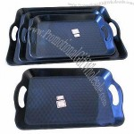 Versatile black plastic serving tray with handle