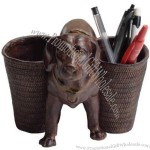 Vintage Classic Resin Dog Pen Pencil Holder/Container