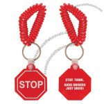 Vinyl stop sign keychain with wrist coil