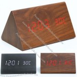 Voice-activated LED Digital Wood Alarm Clock Thermometer