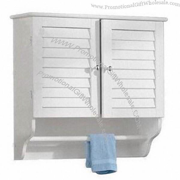 wall hung cabinet with louvered door and towel bar