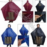 Water Resistant Nylon PVC Hooded Motorcycle Rain Poncho Coat for Adult