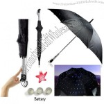 Waterproof Twilight Automatic Open Umbrella, Blue LED Gadget, with 3 Light Modes