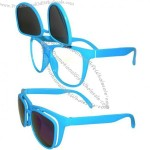 Wayfarer Style, Flip Up Glasses with Iridescent and Clear Lenses in Turquoise