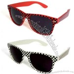 Wayfarer Style Sunglasses with Black/White or Red/Black Print and Super Dark Lens