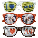 Wayfarer style sunglasses with removable mesh decal