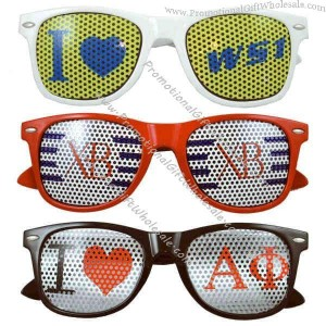 custom wayfarer style sunglasses with removable mesh decal