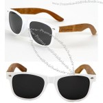 White Frame with Handcrafted Bamboo Temples Sunglasses