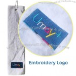 White Golf Towel with Embroidery Logo