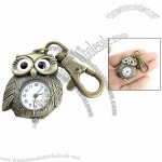 White Round Dial Bronze Tone Night Owl Shape Pendant Keyring Watch