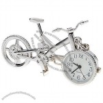 White Silver Bicycle Clock Keychain