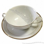 White with Double Gold Band Bouillon Cup Saucer/Liner