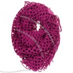 Winter Knit Fishnet Fringe Net Loop Circle Eternity Infinity Scarf