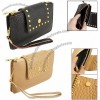 Women Gold Tone Stud Decor Faux Leather Zippered Hand Purse w Strap