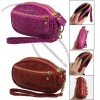 Women Red/Pink Zip Closure 3 Layer Faux Leather Purse Wallet Bag w Strap