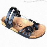 Women's Sandals with Cork Footbed Cow Suede Insole, Two-way Use