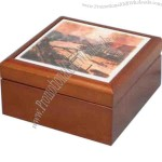 "Wooden Box With Tile Top, 2 5/8"" High"