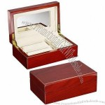 Wooden Jewelry Storage Box, Rich Cherry Finish, Velvet Interior, Hidden Mirror, for Rings, Watches