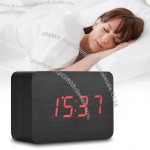 Wooden LED Sounds Control Display Alarm Clock