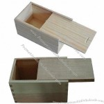 Wooden Perfume Box with Wooden Strips Inside for Protecting the Bottle, Sliding Lid