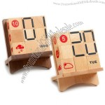 Wooden Perpetual Calendar with Weather Display