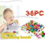 Wooden Threading Beads for Kids - 36pcs