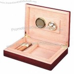 Wooden Travel Cigar Humidor Case, Line with Genuine Spanish Cedar
