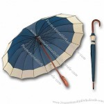 Wooden Umbrella Blue/White