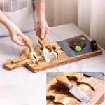 Wooden Vintage Western Cheese Tray with Stainless steel Cutlery Combination